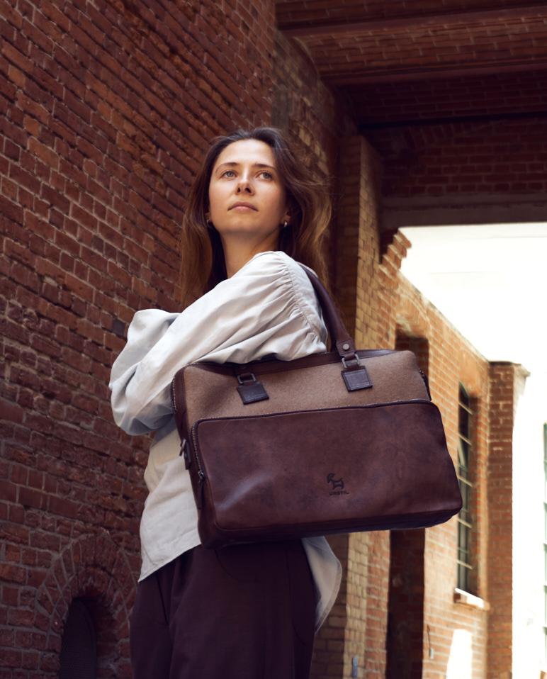 Laptoptasche - aus pflanzlich gegerbtem Leder und reiner Wolle